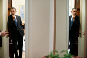 April 2011 Souza captures Obama at the heart of events, perhaps feeling the burden of his job
