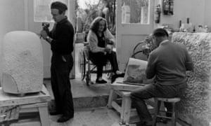Barbara Hepworth (1903 - 1975) at work in her studio in St Ives, 1967.