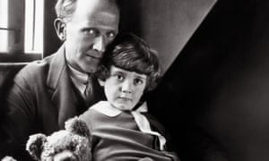 The child in time … AA Milne with the Christopher Robin and Pooh Bear in 1926. Photograph: Alamy