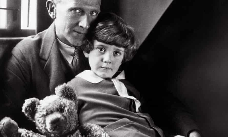 Trapped … AA Milne with his son Christopher Robin and one of Pooh's forebears in 1926.