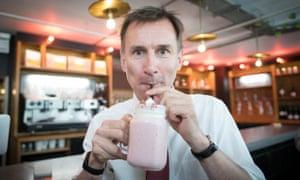 Hunt drinking milkshake