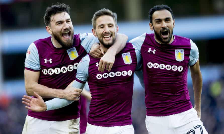 Aston Villa players with Unibet kit branding