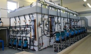 Modern equipment for adding fluoride to mains water supplies.