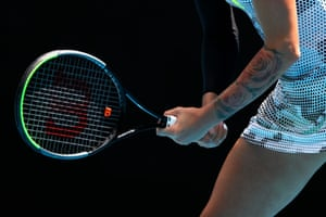 Polona Hercog gets ready to receive a serve