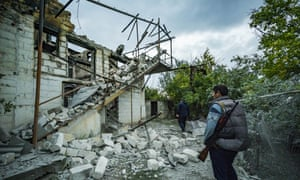 A destroyed house in Martakert village during the clashes in Nagorno Karabakh. A ceasefire will begin on Saturday.