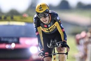 Team Jumbo Visma's Wout van Aert crosses the finish line after a stonking ride.