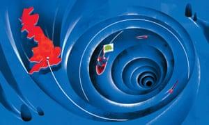 Illustration of Britain spinning down plug hole