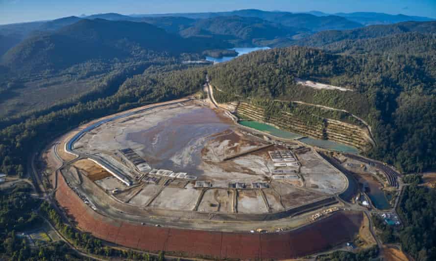 A tailings dam at Rosebery