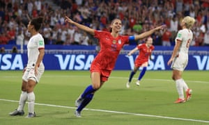 Alex Morgan celebrates scoring USA's winning goal in the Women's World Cup semi-final against England.