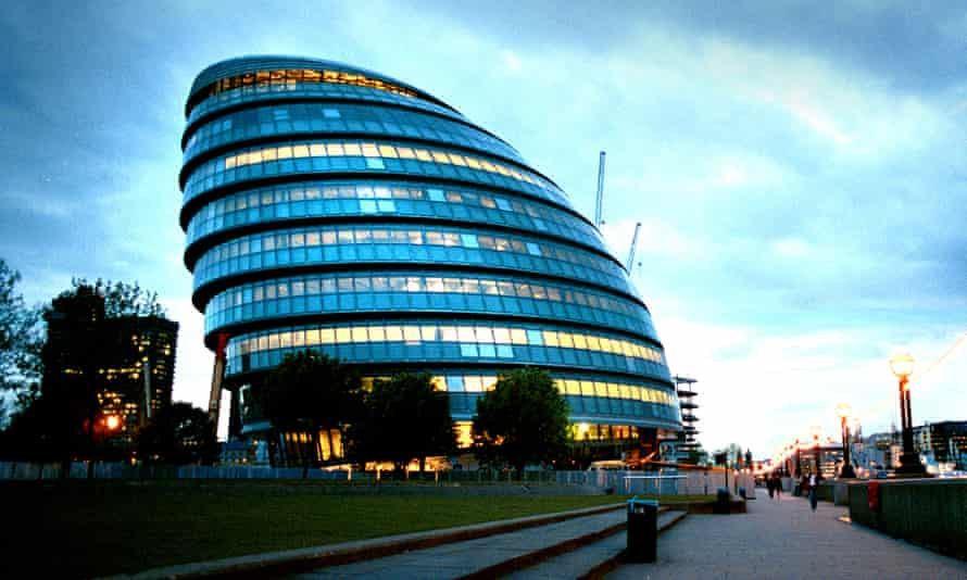 The current City Hall building on the south bank of the Thames in London