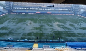 The pitch at La Bombonera was left unplayable after storms and heavy rain in Buenos Aires.