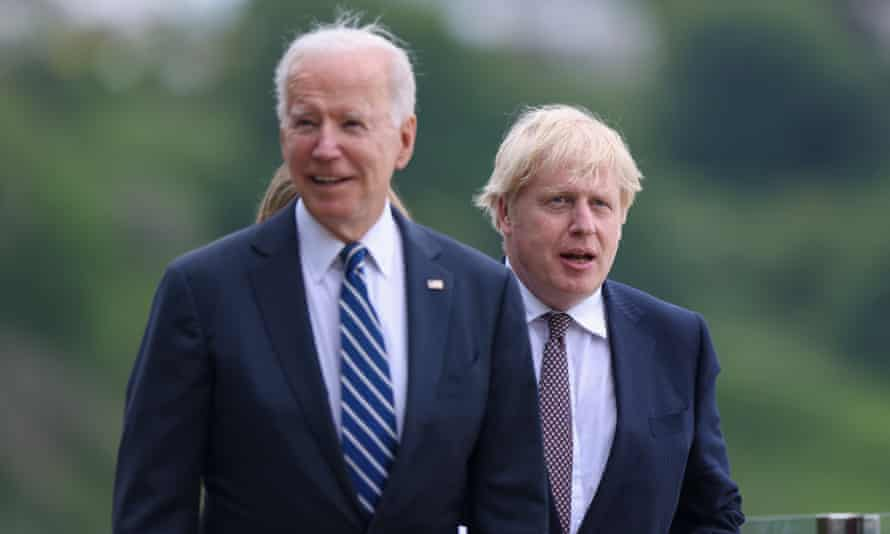Boris Johnson, right, and Joe Biden