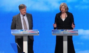 'No one else is capable of being prime minister at the moment, it's not her fault' … Clarke with Theresa May at the Tory party conference, 2009