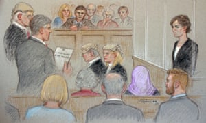 A court artist drawing illustrating Helen Titchener listening to the trial verdict on the jurors paper in Borchester crown court