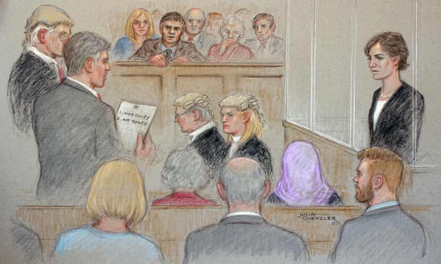 Court artist drawing illustrating defendant Helen Titchener listening to the trial verdict.
