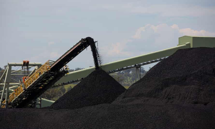Vast piles of coal at the Mount Pleasant thermal coal mine near  Muswellbrook in NSW