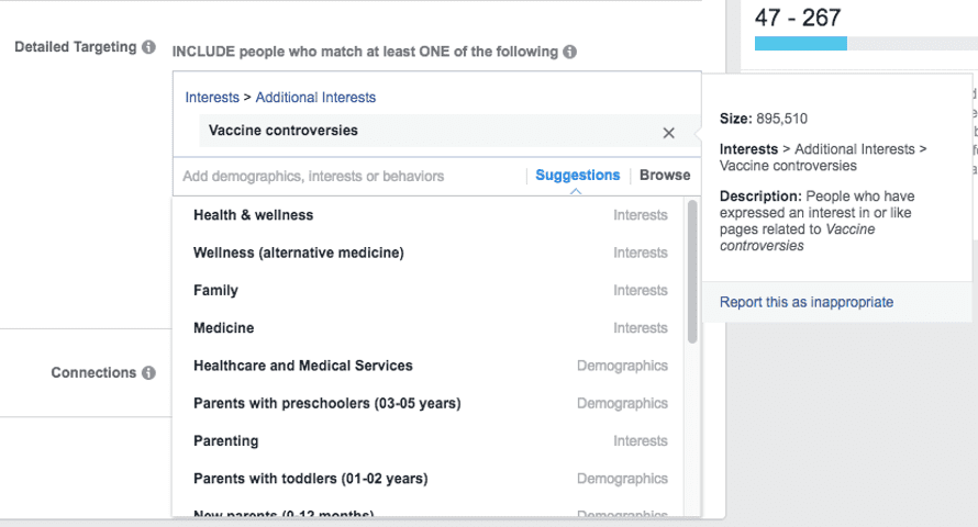 "Facebook's ad platform enables targeting of people interested in ""vaccine controversies"""