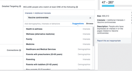 """Facebook's ad platform enables targeting of people interested in """"vaccine controversies"""""""