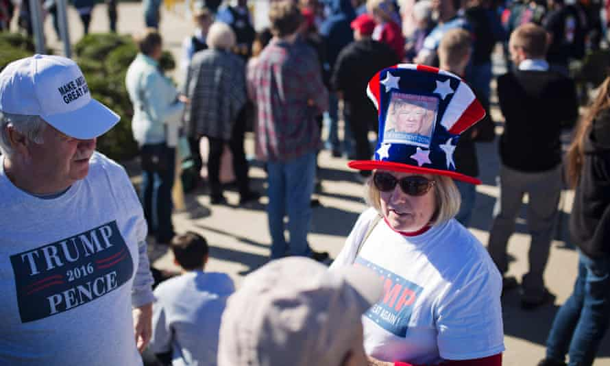 Trump supporters outside a rally in Wilkes-Barre, Pennsylvania.