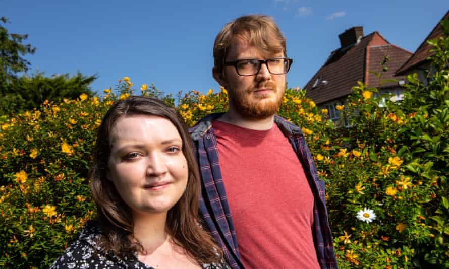 Caroline and Tom in their back garden in Chingford.