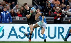Jordie Barrett, who scored four tries for New Zealand against Italy.