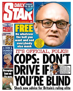 The Daily Star's front page on 27 May featuring a Cummings mask.