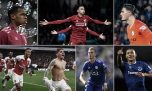 West Ham's Issa Diop, Liverpool's Trent Alexander-Arnold, Arijanet Muric of Manchester City, Everton's Richarlison, James Maddison of Leicester and Arsenal's Lucas Torreira.