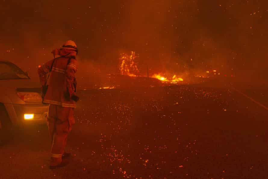 Embers fall as the Creek fire expands on 8 September 2020 near Shaver Lake.