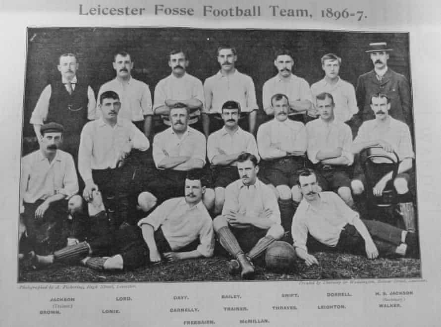 Harry Trainer sits in the middle seat in the middle row among his teammates at Leicester Fosse in November 1896.