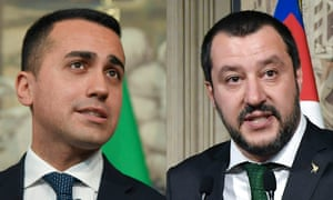 Luigi Di Maio, leader of the Five Star Movement, and Matteo Salvini, leader of the League