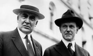 Warren G Harding, left, with Vice-President Calvin Coolidge.