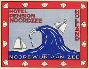 Hotel Pension Noordzee: This hotel started life in 1870. It was destroyed in World War II before being reopened in 1953. Overlooking the chilly North Sea, Hotel Noordzee is a modest establishment but this eye-catching luggage label was perhaps inspired by the famous 'Great Wave of Kanagawa' woodblock print by the Japanese artist Katsushika Hokusai.