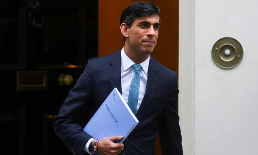 Britain's chancellor of the exchequer, Rishi Sunak, in Downing Street, London.