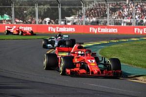 Sebastian Vettel leads Lewis Hamilton at the Australian Formula One Grand Prix at Albert Park.