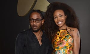 SZA and her label mate Kendrick Lamar at the Grammys in 2016