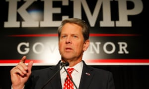 Brian Kemp, Republican candidate in Georgia's governor's race, is in a close race with Democrat Stacey Abrams.