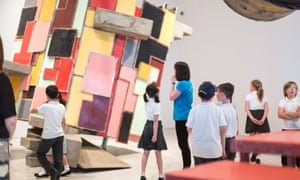 primary children and an art installation