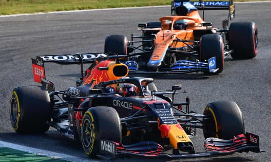 Max Verstappen drives ahead of Daniel Ricciardo on his way to pole position for the Italian Grand Prix