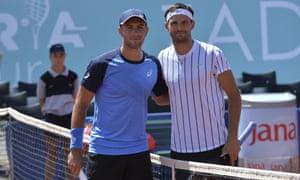 Borna Coric poses with Grigor Dimitrov during their semi-final in Zadar.