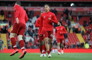 Trent Alexander-Arnold warms up before Liverpool's Premier League match against Huddersfield at Anfield in April 2019.