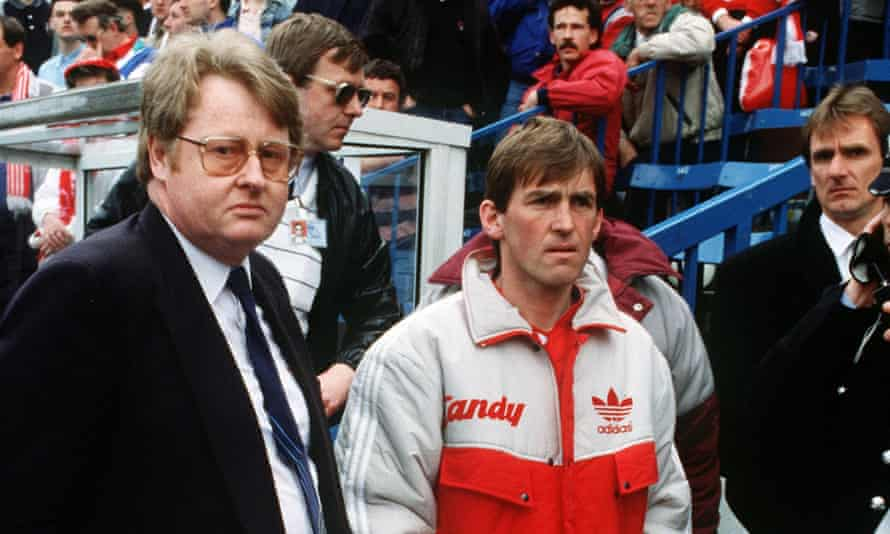 Kenny Dalglish, Liverpool manager, with FA chief executive Graham Kelly at Hillsborough in 1989