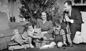 vintage family christmas scene