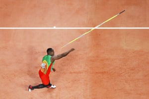 Anderson Peters of Grenada competes in the Men's Javelin final.