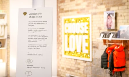 A sign inside the charity pop-up