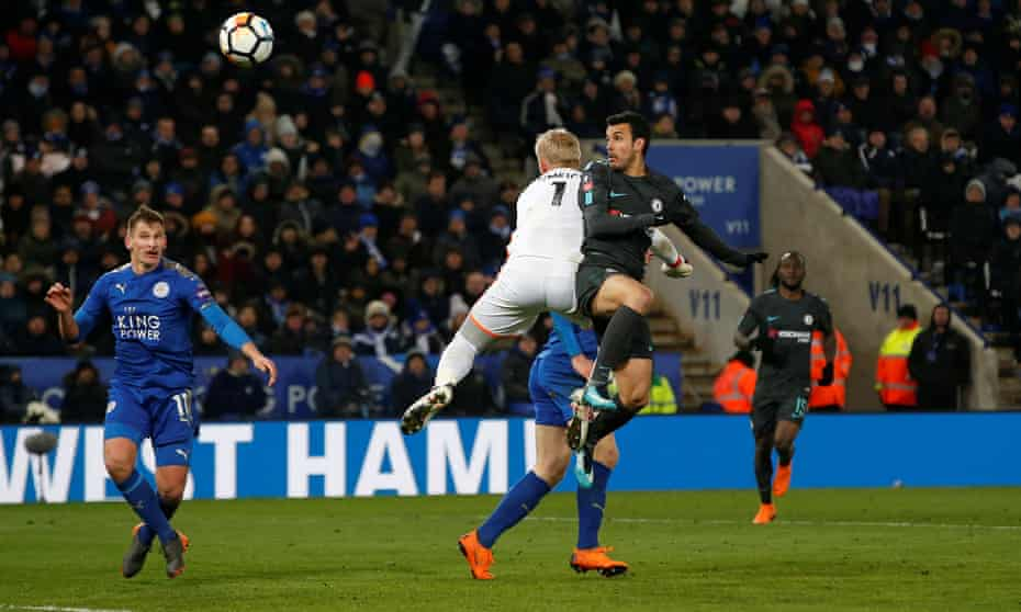 Pedro beats the Leicester goalkeeper Kasper Schmeichel to N'Golo Kanté's ball and heads Chelsea into the FA Cup semi-finals.