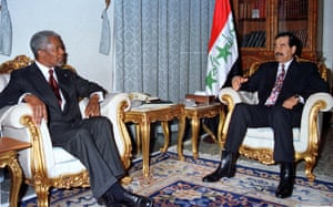Saddam Hussein meets UN Secretary-General Kofi Annan in Baghdad in 1998