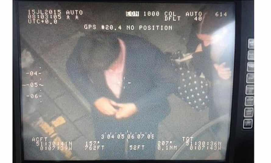 A screengrab of the spy-camera image posted on the Twitter feed of the National Police Air Service, showing the comedian Michael McIntyre in London's Leicester Square.