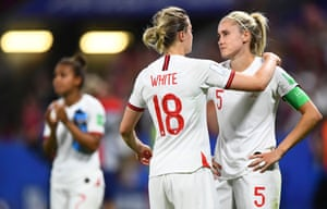 Dejection for England players Steph Houghton and Ellen White at full time after their defeat to the USA.