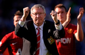 Sir Alex Ferguson gestures to the United fans after the West Bromwich Albion versus Manchester United Premier League match at The Hawthorns stadium in May 2013 , his final match as United manager before retiring.