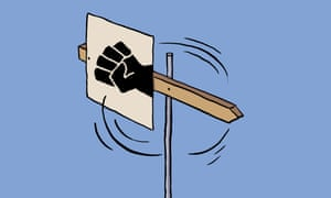 Illustration of black fist on a weather vane